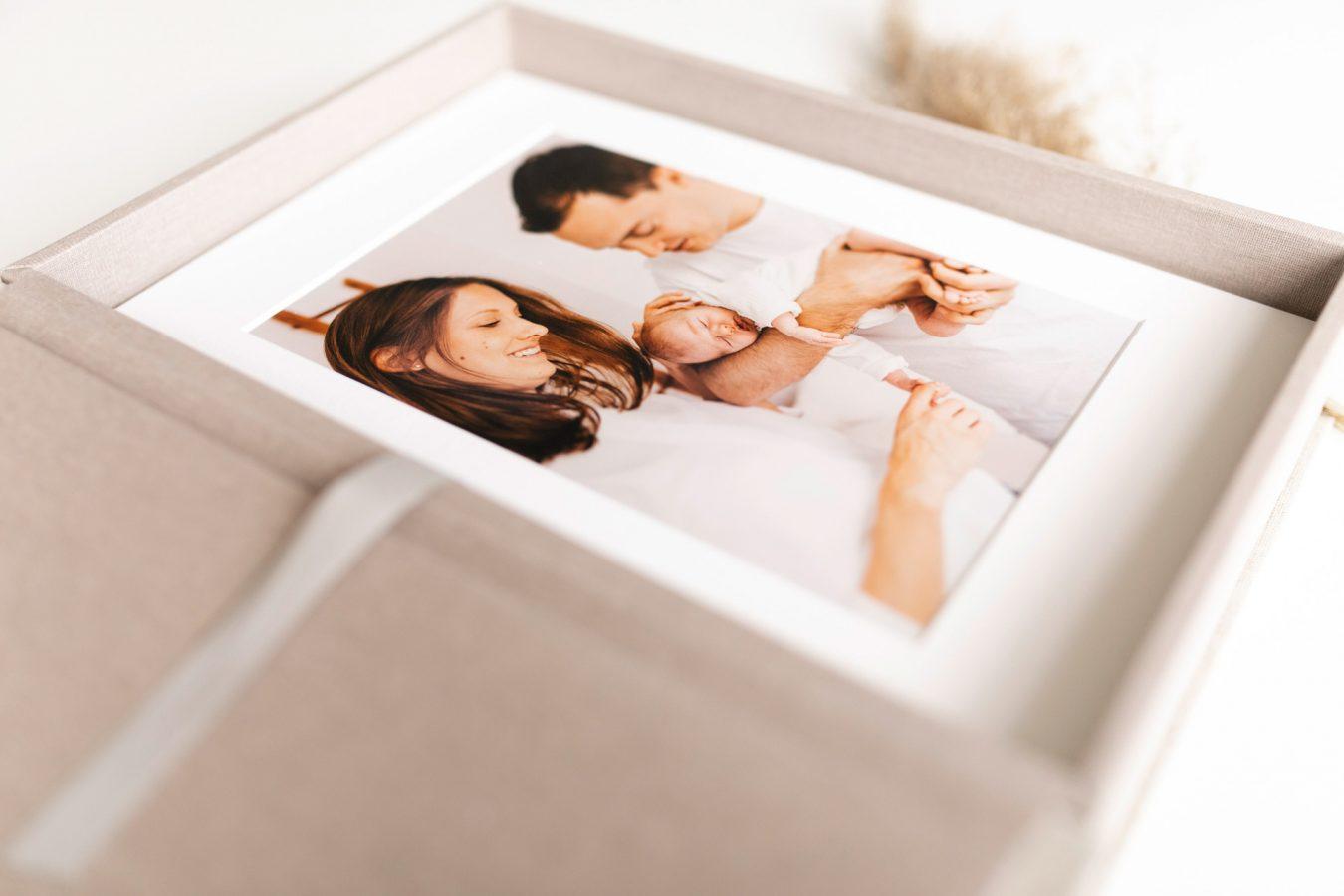 Passpartout-Box Familienfotografie Leinen nPhoto