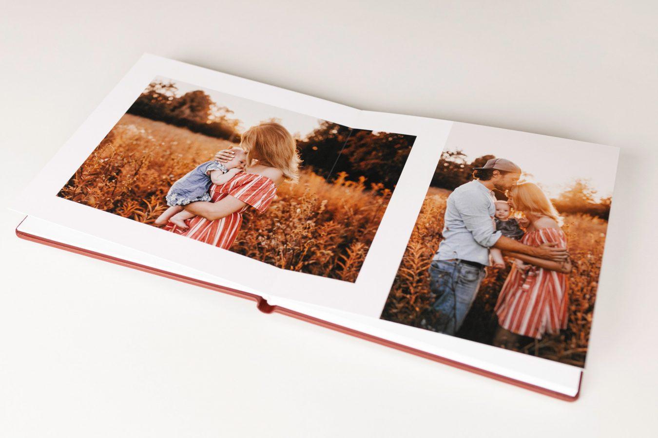 Fotoalbum Familienfotos Familienfotografie Ledereinband nPhoto